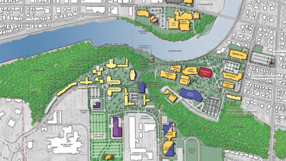 An map of what the UWEC campus could look like in 20 years, assuming the entirety of their master plan comes to fruition. Check out a high-res map.