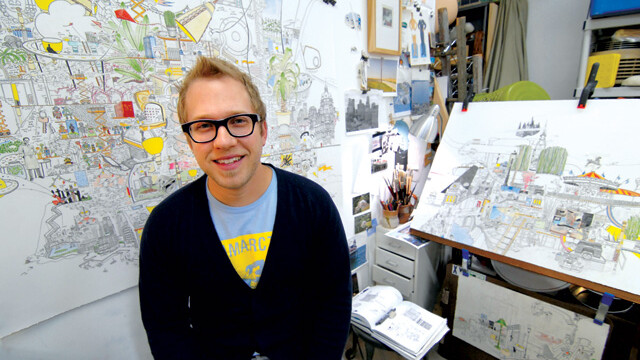 When he's not teaching classes at UW-Stout – or sitting on a stool smiling at you – Minneapolis artist Andy Ducett is busy displaying his work around the world.