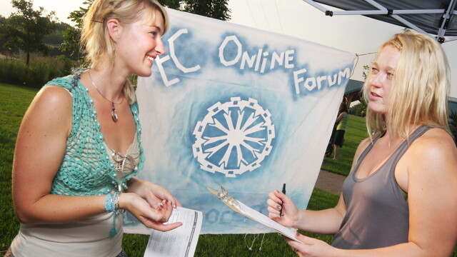 "In September, Eau Claire will be able to log in to E-Democracy.org and participate in an ""online town hall."" Above: An informational booth for the forum at Phoenix Park."