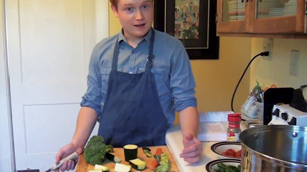 """... AND ONCE YOU CHOP THESE UP, YOU MAKE THE FOOD."" Eighteen-year-old Eau Claire chef Joe Luginbill has been simmering up success. His YouTube-based cooking show ""Joe's Kitchen"" has been racking up millions of views, and he's grabbed the attention of Martha Stewart and Cooking Teens Magazine."