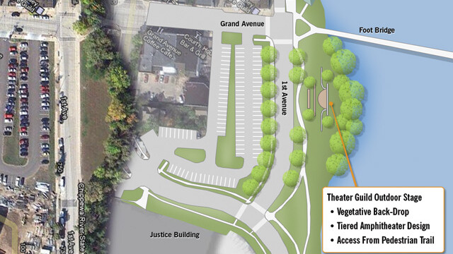 The proposed theatre would be located next to the Grand Avenue footbridge in downtown Eau Claire. (Map adapted from Eau Claire's Parks and Waterways Plan.)