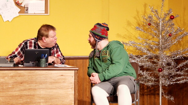 """I TOLD YOU NOT TO PUT TOO MUCH GLITTER ON THE TREE!"" The locally produced and written comedy Mr. Christmas runs at Fanny Hill through January 13."
