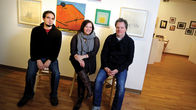 TRIPLE THREAT. Though they all work in the abstract, artists David Brock, Kari Tarr, and Mike Tarr cover a wide range of styles and media.