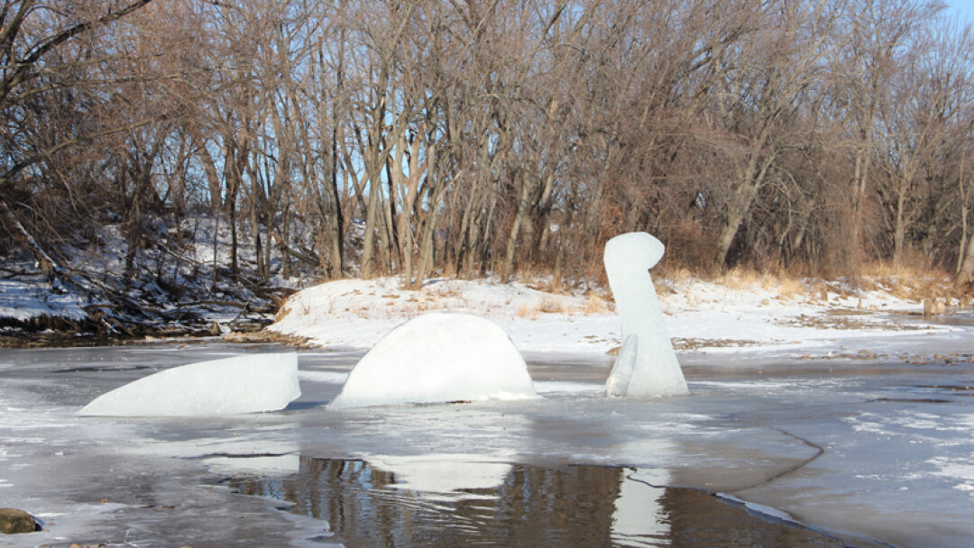 "Attack of the Ice Nessie! Spotted on Wednesday, January 9, the ""Loch Chip Monster"" – the mysterious Nessie-shaped concrete sculpture that appeared last summer – returned to the Chippewa River for a brief time. This time made of the frozen water from which it rose."