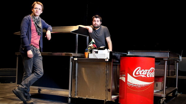 HAVE IT YOUR WAY. The new UWEC Players production, Drop, was written by JT Stocks, left, and directed by Jake Brockmann.