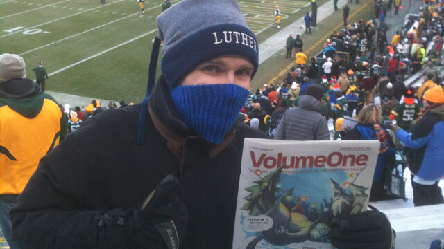 The author (and Volume One) at Lambeau Field for the Packers-Titans game on Dec. 23.