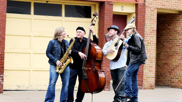 FROM THE STREETS. AcoustiHoo is Sue Orfield on tenor sax, along with Chippewa Valley residents Randy Sinz on upright bass, Lucas Fischer on guitar, and Olaf Lind on violin.