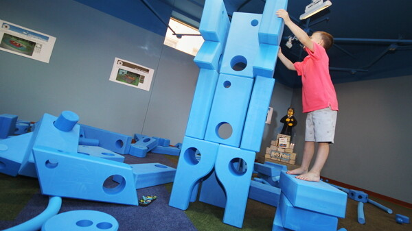 200 brightly colored foam blocks, chutes, channels, and gears form the new Children's Museum of Eau Claire exhibit.