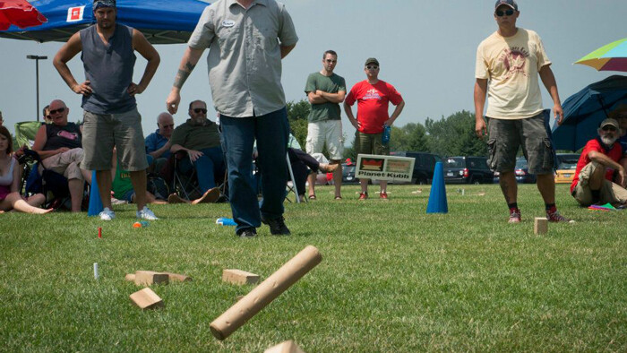 A killer eight meter toss during the 2012 U.S. National Kubb Championship's final round.