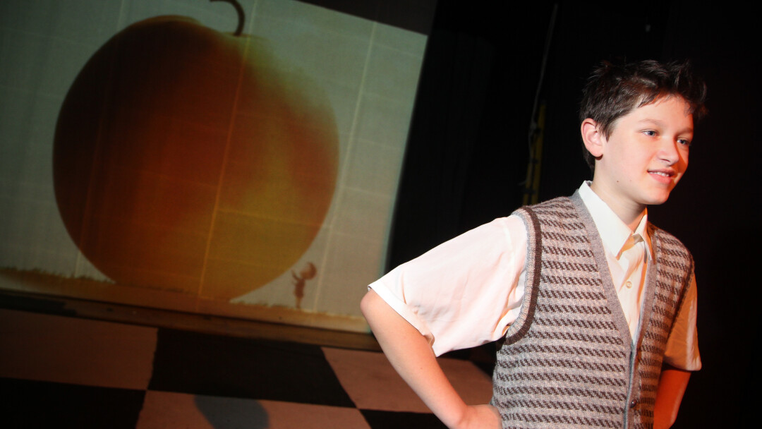 SINGIN' IN THE SWEATER VEST. Max Sperry stars as James in James and the Giant Peach.