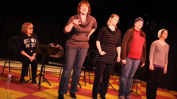 USUAL SUSPECTS. A rehearsal for the Chippewa Valley Theatre Guild's staging of Love, Loss, and What I Wore.