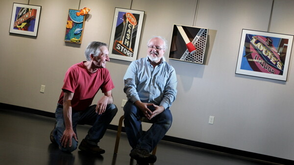 NOT PICTURED: GEORGE AND RINGO. John Qualheim and Paul Cyr, who worked together for 25 years at at Greendoor Graphics & Advertising, have collaborated on a new exhibit of paintings, illustrations, and other artwork at the L.E. Phillips Memorial Public Library in Eau Claire.