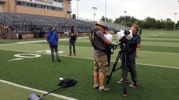JUST A DAY IN THE PARK. The crew for the indie film The Elijah Project has been shooting at various Chippewa Valley locations, including the Carson Park football field.