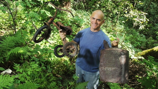 "TRASH OR TREASURE? Michael Perry says part of his new young adult novel, The Scavengers, ""was inspired by a ravine full of junk out behind my farm."""
