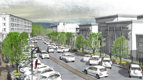 "IN THE FUTURE, ALL CARS WILL BE WHITE. This image by Ayres Associates shows what the ""main street"" in Altoona's River Prairie Town Center could look like."