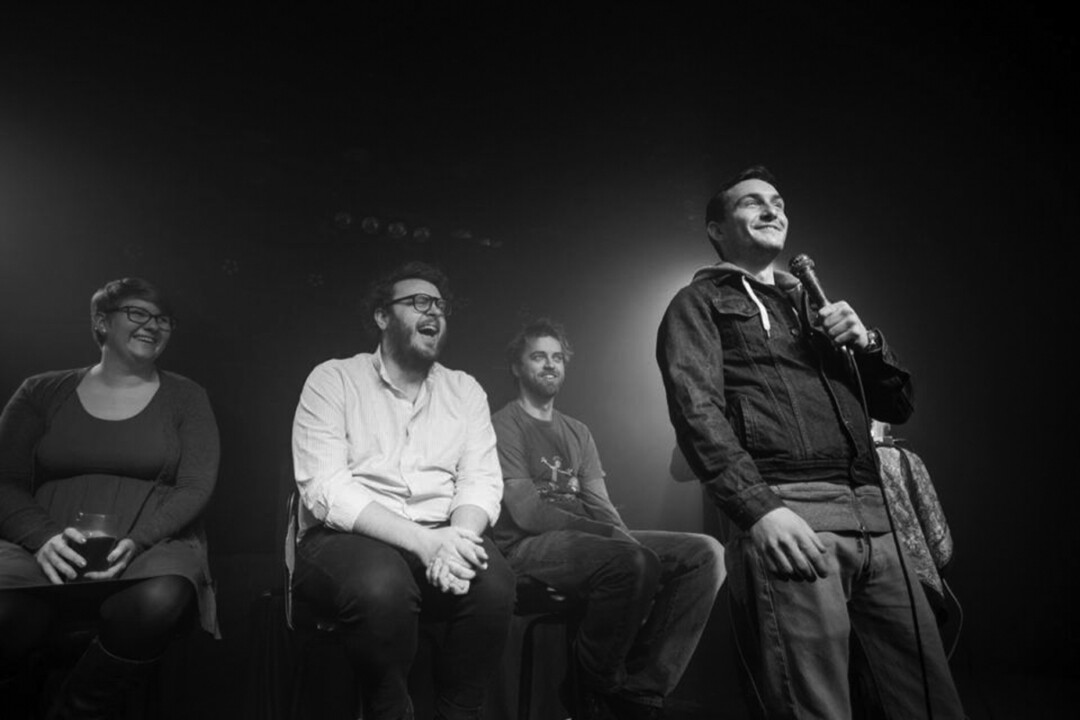 HAVE A LAUGH | (left to right) Comedians Mackenzie Bublitz, Eric Christenson, PeteR Diedrick, and Ryan Kahl at February's Standup Getdown 2. Photo: Zach Oliphant