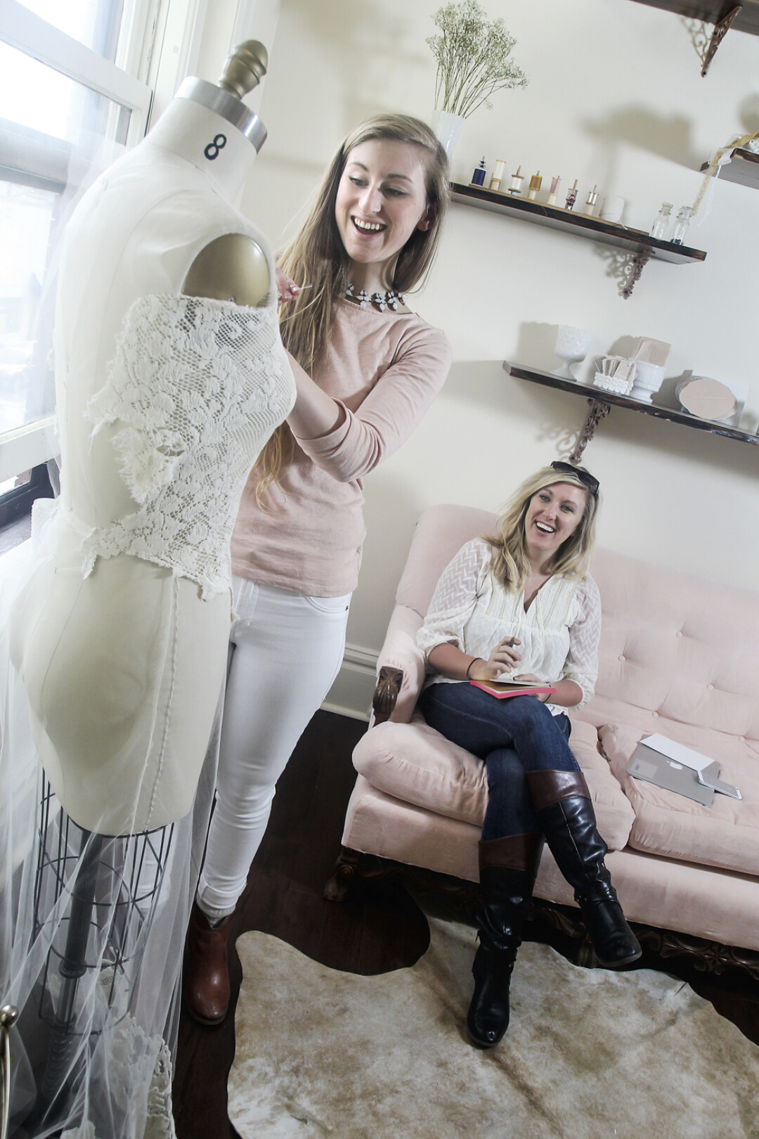 HOW PINTERESTING! Lindsay Ulness, left, and Sarah Hrudka operate Linyage, a wedding dress design house.