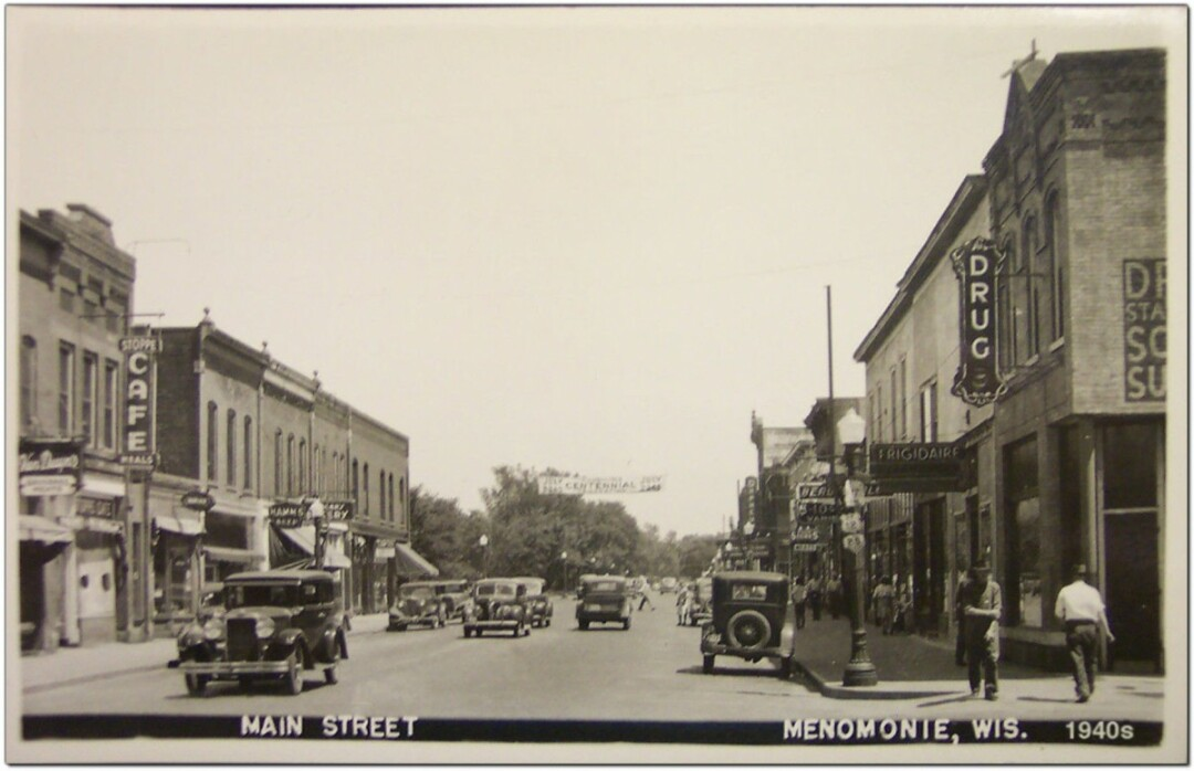 HEY, THAT LOOKS FAMILIAR. David Tank's new book, Postcards from the Past, features historic postcard photos of Menomonie – like the 1946 image above looking east from the intersection of Main and Fourth streets – juxtaposed with present-day pictures of the same scenes.