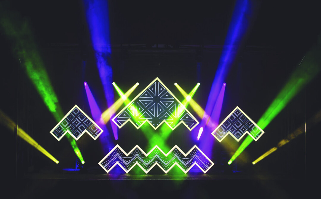 THE STAGE IS SET. Antic Studios designed the main stage for this summer's SubOctave Music & Camping Festival – an electronic music festival that takes place on a secluded ranch near the small town of Houston, Minn. – using programmable intelligent lights and projection mapping.