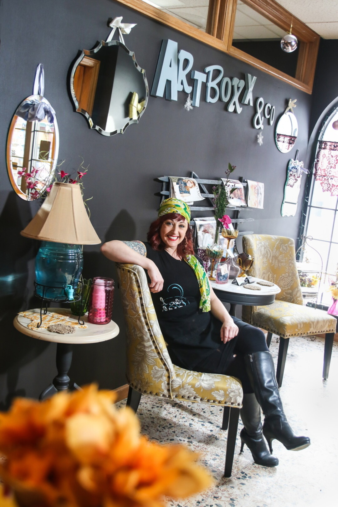 THESE BOOTS WERE MADE FOR STYLIN'. Nikki Luft owns ArtBoxx Salon & Co. in downtown Eau Claire.