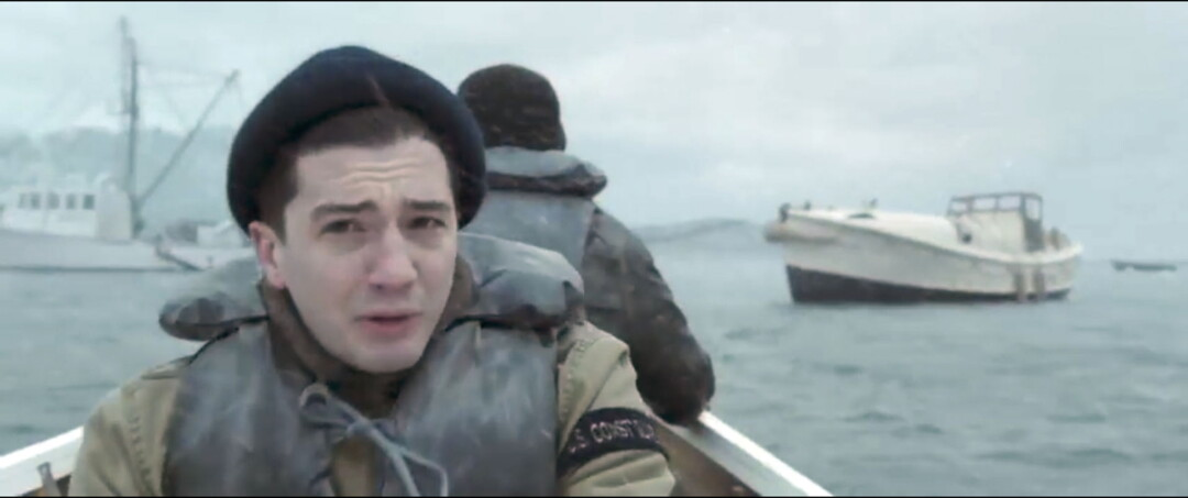 WE'RE GONNA NEED A BIGGER BOAT. Actor John Magaro, above, portrays Wisconsinite Ervin Maske in The Finest Hours, a new film about a legendary Coast Guard rescue. The photo at right shows the real Maske (at far right) with the three other Coast Guardsmen who conducted the rescue in 1952.