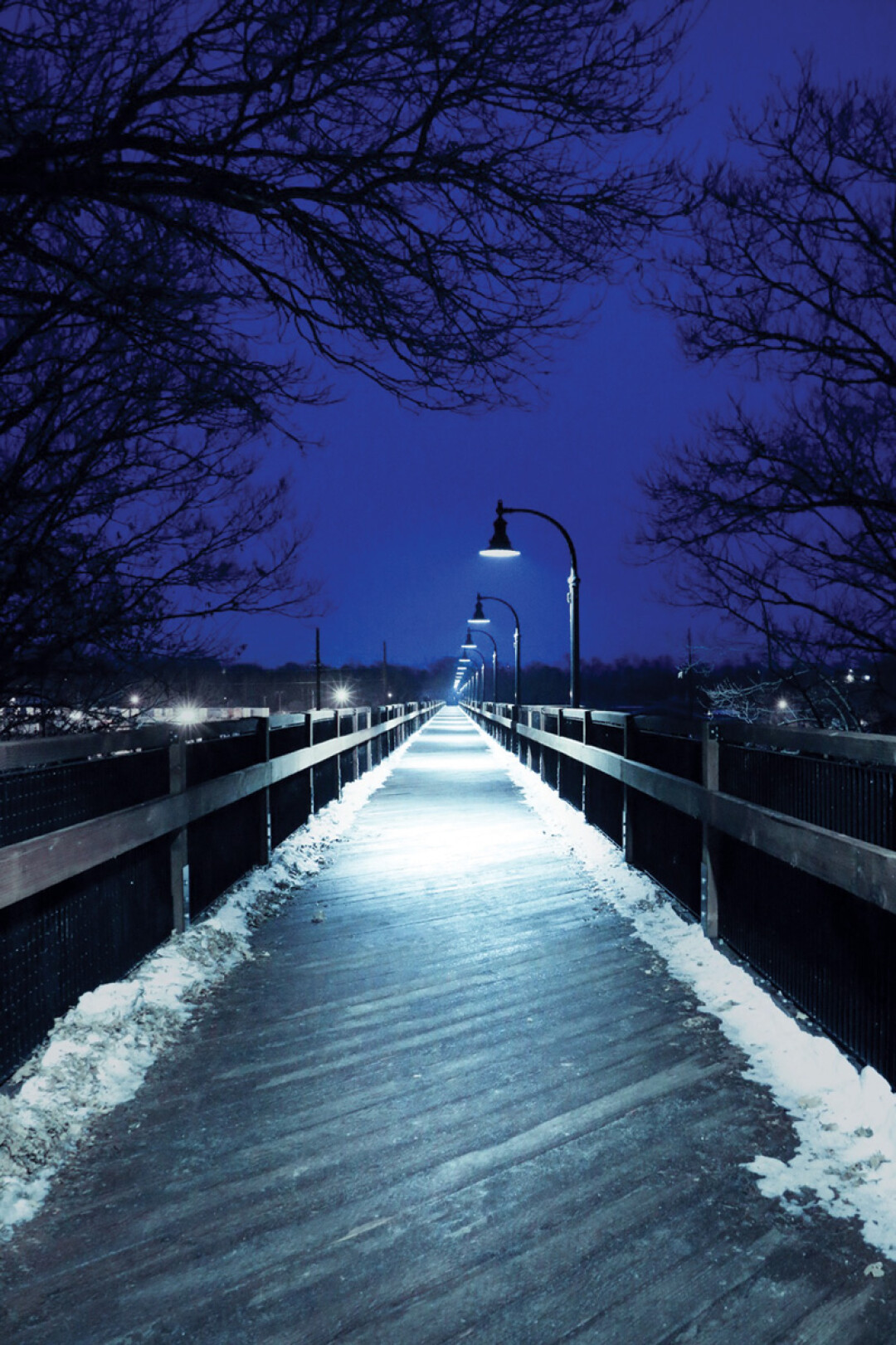 HIGH AND LONESOME. A recent shot of the High Bridge in Eau Claire on a chilly night. The new-ish pedestrian bridge has continued to be a popular spot for walkers and sightseers throughout winter.