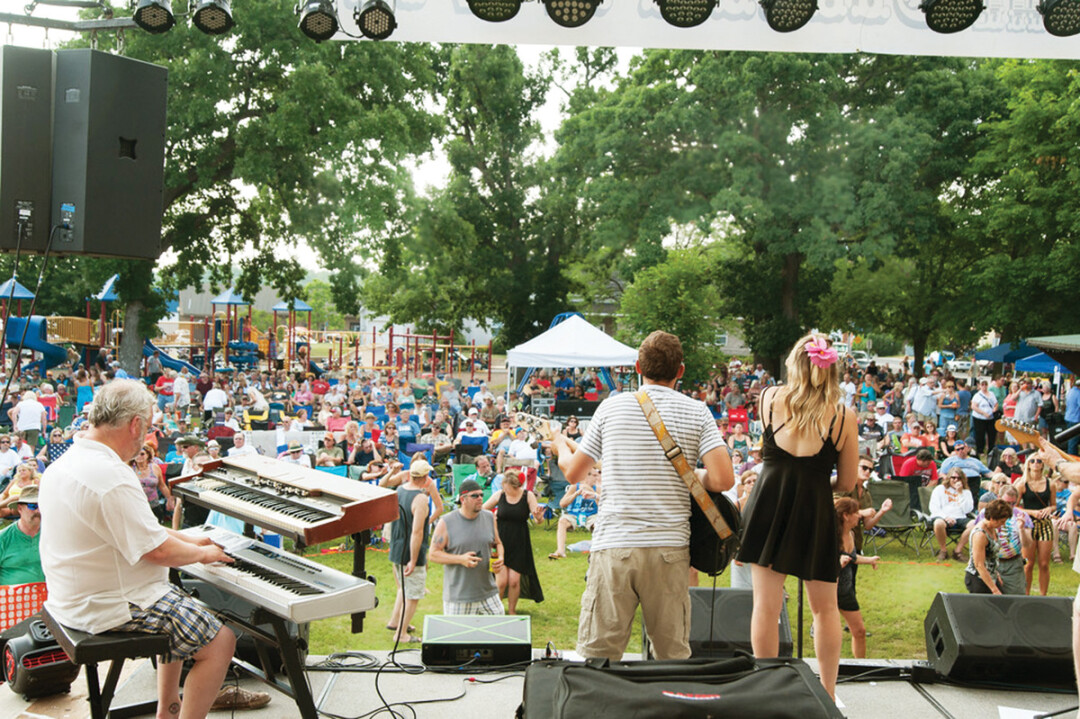 left wing bourbon performs at blues on the chippewa in durand's memorial park.