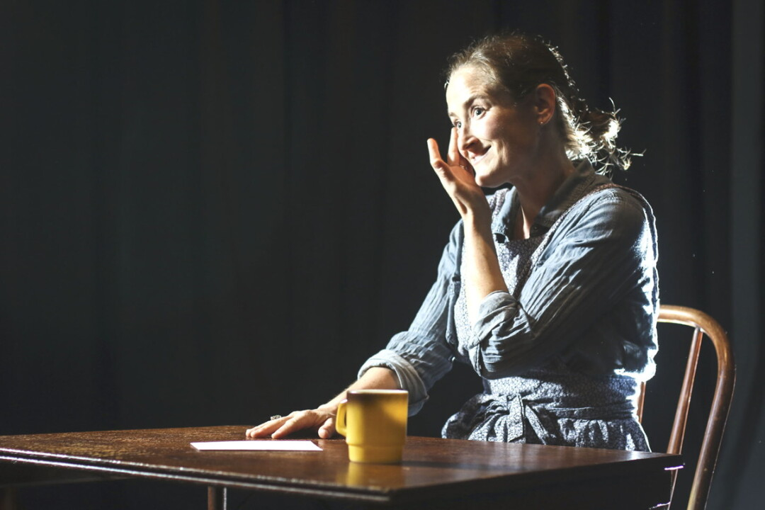 DRAMATIS PERSONA. Molly Barnes performs all seven roles in Downstage Left's production of The Amish Project, which delves into a shooting in Amish country.
