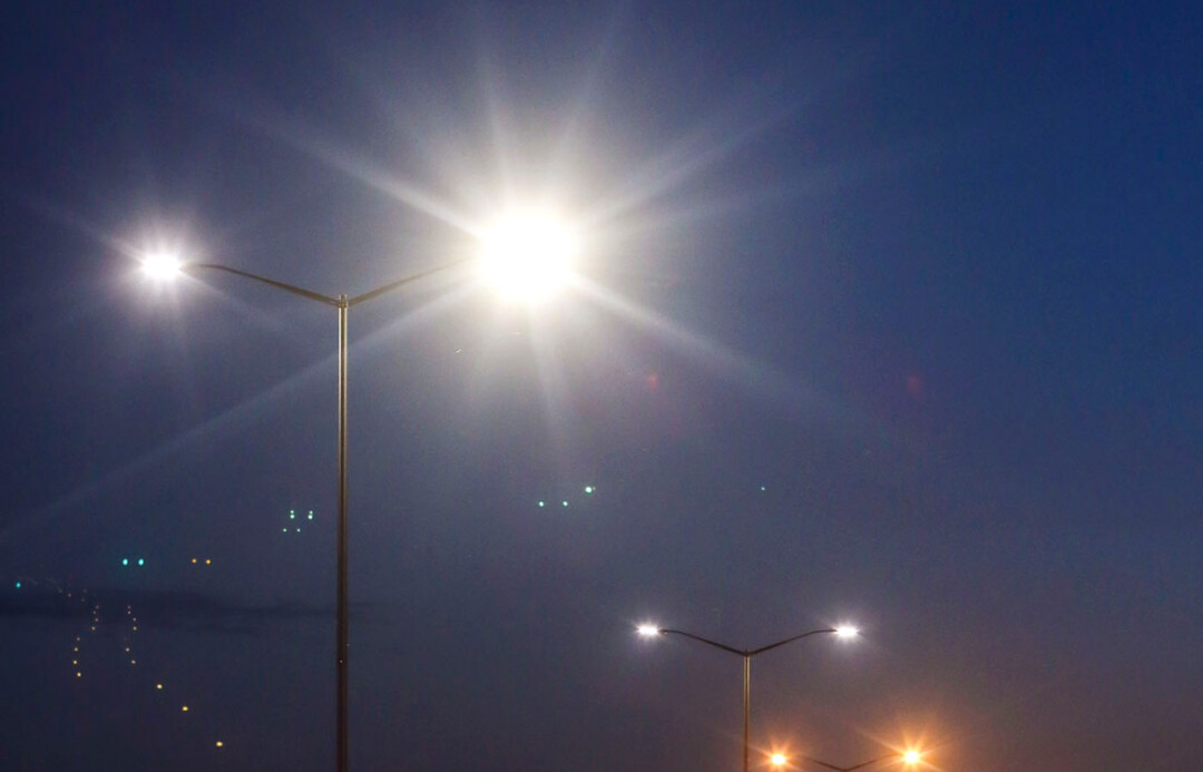 WHITE NIGHT LIGHT. The City of Eau Claire is testing LED streetlights on a few poles near the intersection of Clairemont Avenue and Keith Street. The city is expected to begin installing LEDs, which use less electricity but can produce a whiter light than traditional bulbs, on city thoroughfares in 2018.