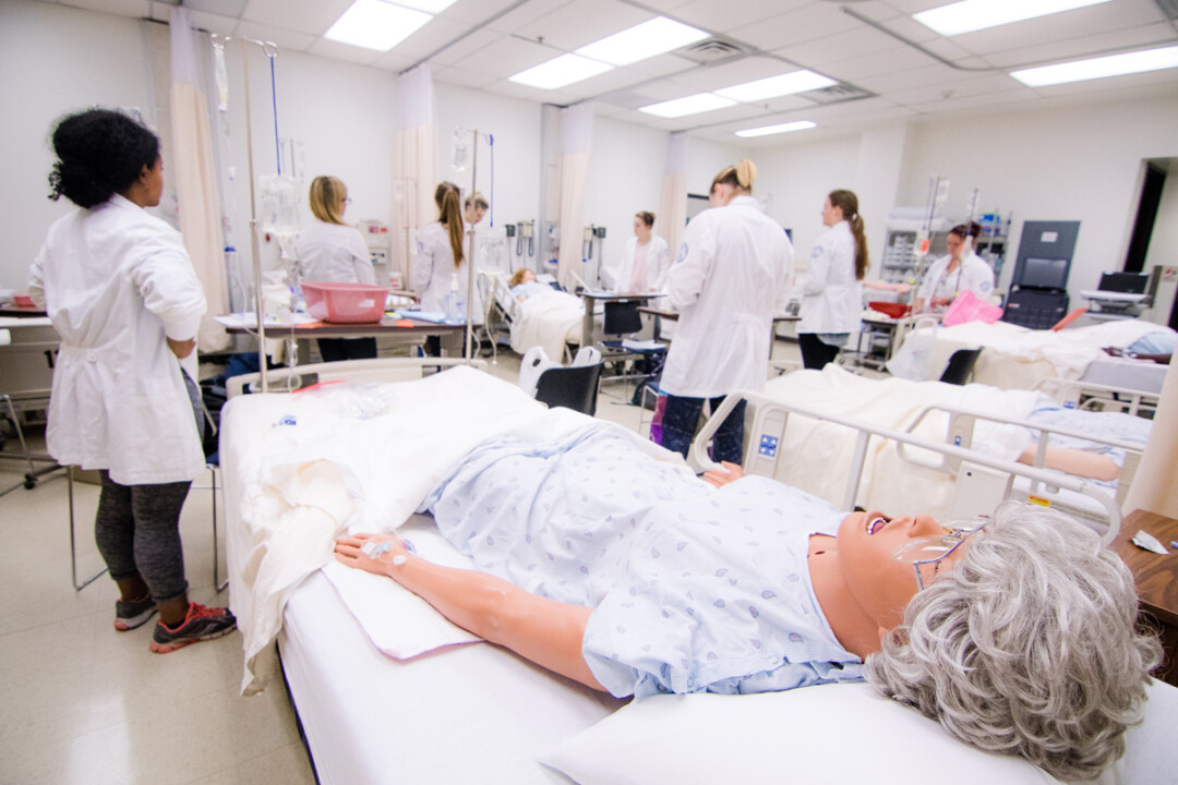 PATIENT PATIENTS. Nursing students at UW-Eau Claire learn their skills with the help of technologically sophisticated manikins in the Skills and Simulation Lab.