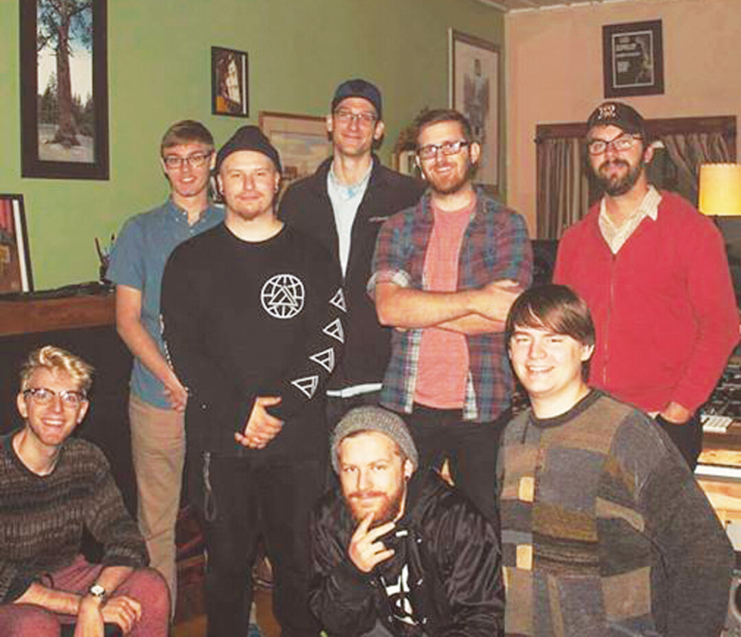 AUDIO CLUBBIN'. Pine Hollow Studio owner Evan Middlesworth (standing, far right) welcomed UW-Stout's Music Production Club into the studio for a two-day workshop.