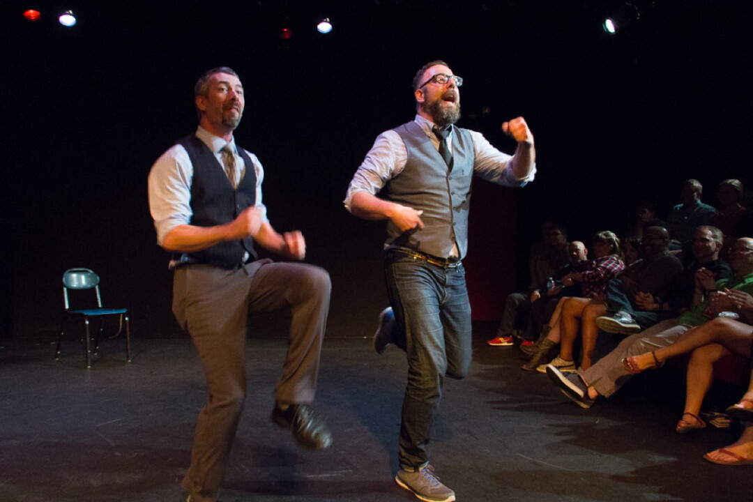 Strike Theater co-founders and ComCon co-organizers Joe Bozic and Mike Fotis perform as improv duo Ferrari McSpeedy. Photo by Chelsea Petrakis