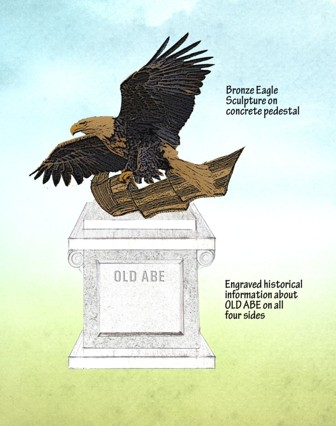 Plans to create a veterans memorial trail in downtown Eau Claire include a statue of Old Abe, the legendary (but real!) bald eagle who accompanied Wisconsin troops during the Civil War.