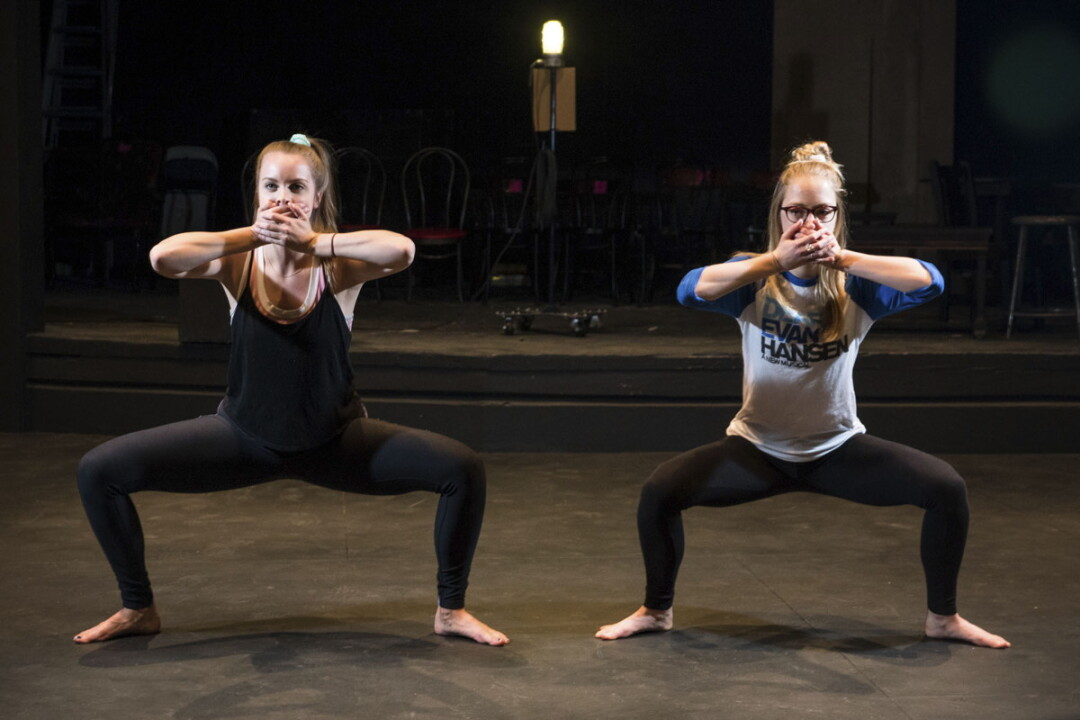 UWEC students Clara Kennedy and Emily Elliot develop choreography to address the issue of sex trafficking.