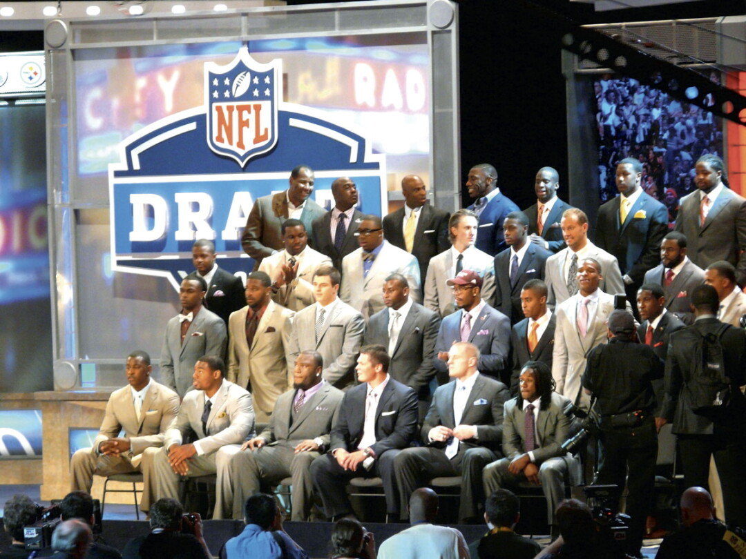 Potential draftees  and Hall of Famers wait  for the NFL Draft in 2011.