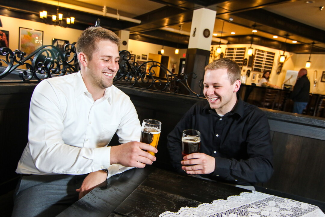 Launching in June, Eau Claire Brew Hop will be the area's the first craft brewery, distillery, and winery tour service in the area. Above: Owners Brandon Felce and Tyler Koxlien.
