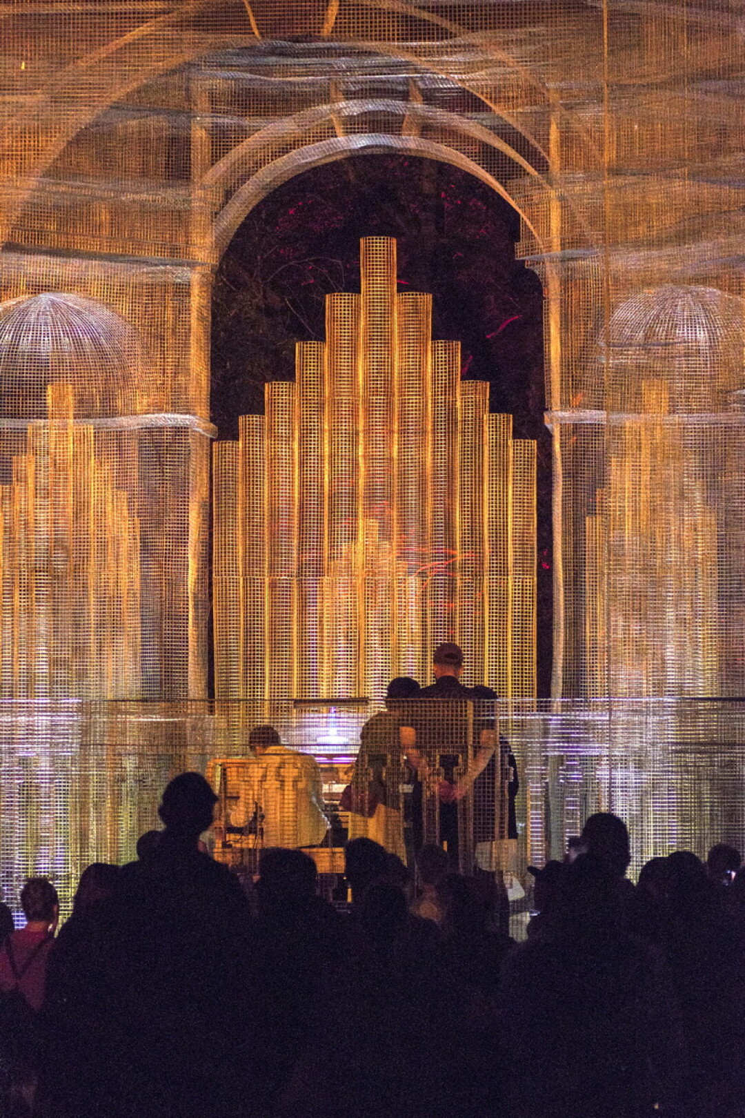 IF IT AIN'T BAROQUE ... Italian artist Edoardo Tresoldi created Baroque – a towering wire mesh sculpture reminiscent of a cathedral – for the 2016 Eaux Claires Music and Arts Festival.