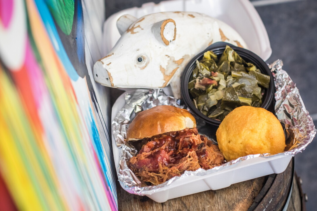 FLAVOR TO GO. Red Coal BBQ (1907 Brackett Ave., Eau Claire) offers a menu of pork belly, pulled pork, pulled chicken, brats, and more – and sandwiches of all kinds made from any of their smoked meats.