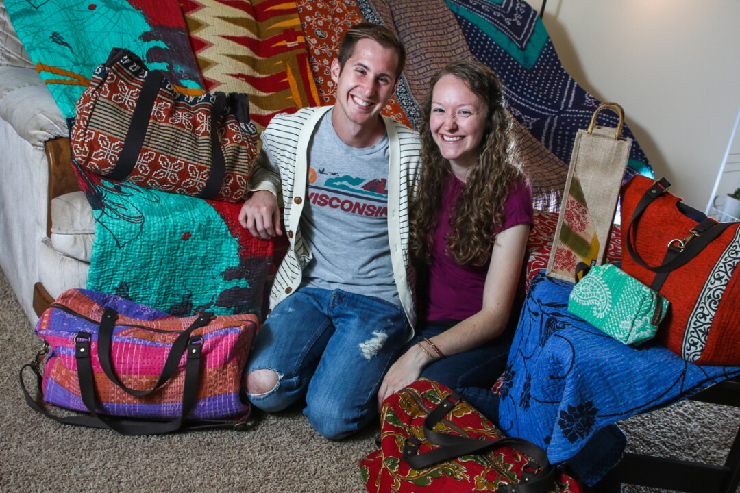 HOW BAZAAR! Trent and Lexie Leonhard's business The Sari Bazaar sells imported fair trade products from India, many made from recycled saris.