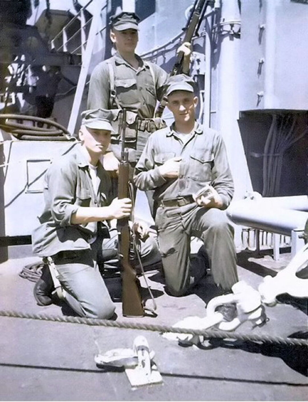 Marine Pfc. David Dola (back), shown during his service in Vietnam, won the Silver Star for gallantry in combat.