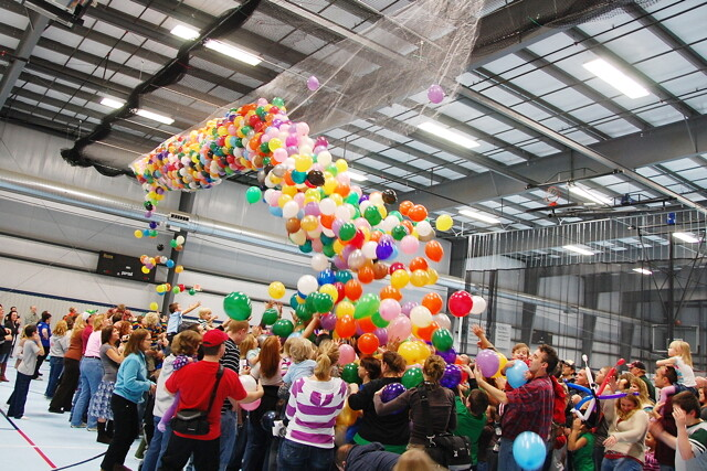 The balloon drop at the Indoor Sports Center.