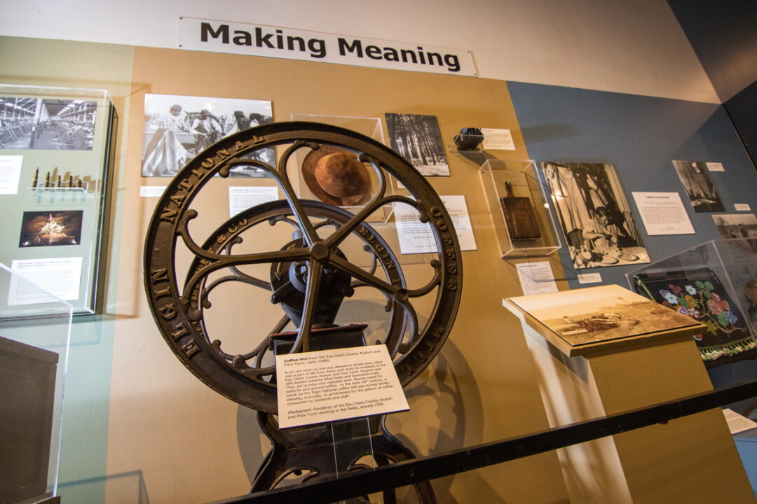 "ON THE GRIND. This coffee grinder, from the Eau Claire County Asylum, was featured in the ""Hard Work"" display in the Museums in America class exhibit, ""Making Meaning."""