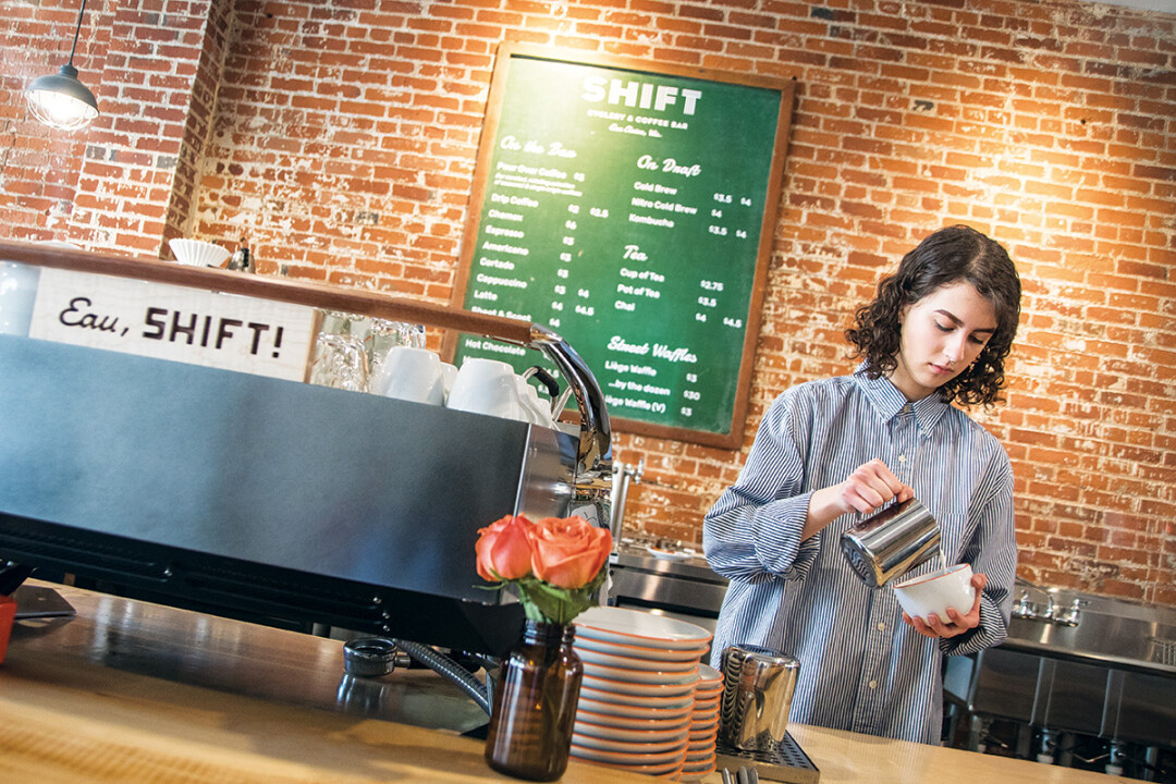 BICYCLES AND BREWS AND WHEELS AND WAFFLES. Downtown Eau Claire's SHIFT Cyclery & Coffee Bar combines specialty coffee and other treats with bicycle repair and sales.