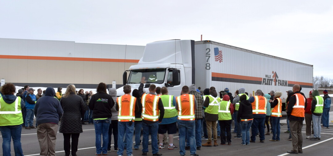 ABOVE: The Chippewa County Economic Development Corporation was on hand in March to celebrate the first shipment to depart the new Fleet Farm Distribution Center at the Lake Wissota Business Park.