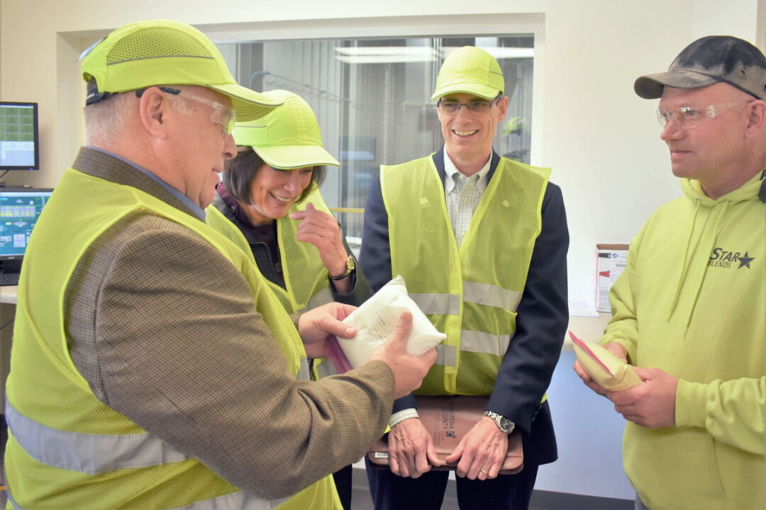 Sheila Harsdorf (second from left), secretary of the state Department of Agriculture, Trade, and Consumer Protection, visited the plant in April.