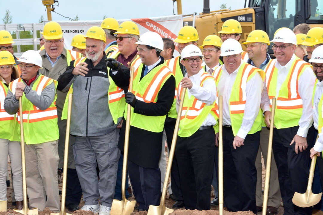 Chippewa Falls Mayor Greg Hoffman (second from left in the front row) was joined by Gov. Scott Walker (third from left) and other officials at a May 2017 groundbreaking for a new Fleet Farm Distribution Center in the Lake Wissota Business Park on the northeast side of Chippewa Falls.