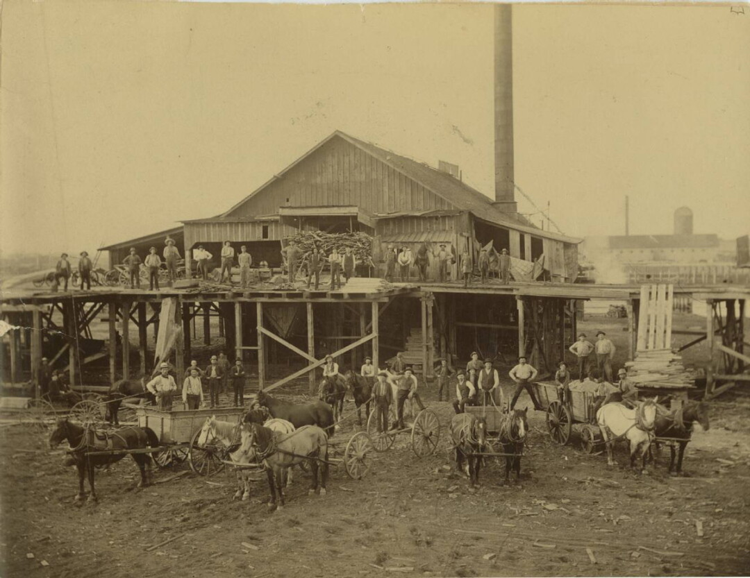 "OK, EVERYBODY SAY, ""TIMBER!"" The Daniel Shaw Lumber Co. shingle mill, circa 1880. Eau Claire's logging history is part of a new Wisconsin Public TV documentary."
