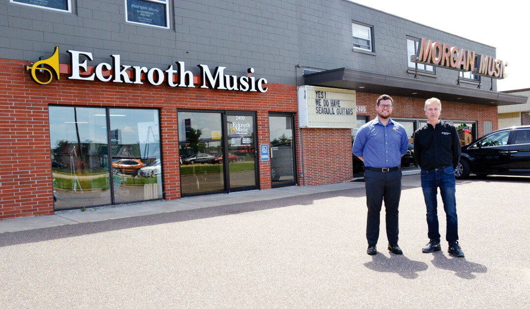 TWO IS BETTER THAN ONE. Tyler Henderson, manager of Eckroth Music, and Rich Morgan, owner of Morgan Music, formed a partnership to provide enhanced customer service.