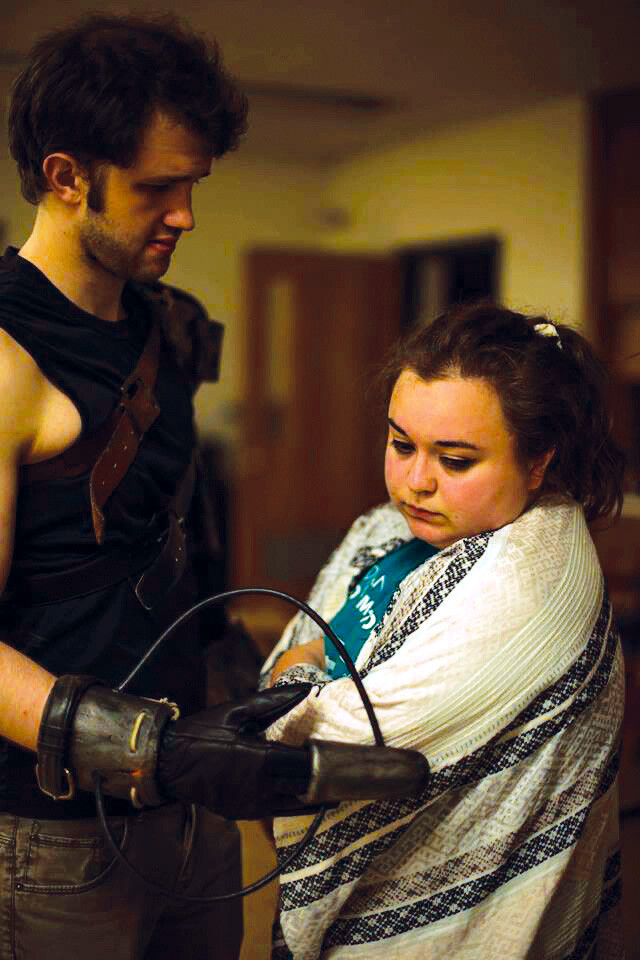 HE'S GOT THE TOUCH. Jake Pritchard and Zoë Jennings rehearse a scene from A Real Super Time, A Post-Superhero Play.