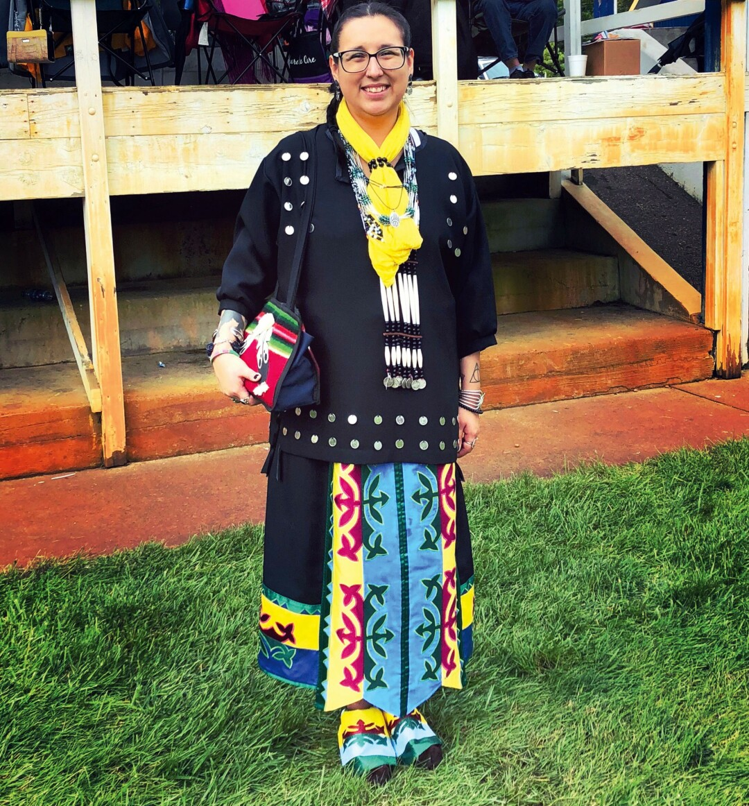 The writer at the Labor Day Pow Wow in Black River Falls